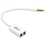 Кабель Audio, 3.5mm/m - 2x3.5mm/f, Ritmix RAS-150, 0.15m, white